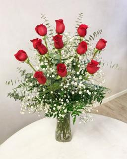 Dozen Long-Stem Roses in Vase