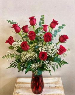 Dozen Roses in Red Vase*