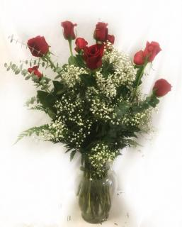 Dozen Long-Stem Roses in Classic Urn
