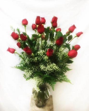 Double Dozen Long-Stem Roses in Classic Urn